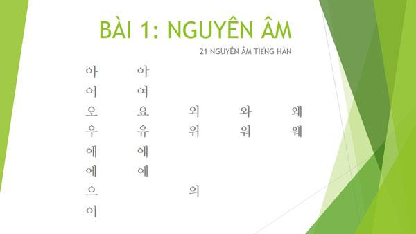 Tiếng Hàn nhập môn: Tìm hiểu bảng nguyên âm tiếng Hàn
