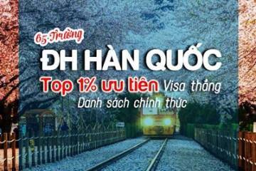 Các trường Top 1% ưu tiên visa thẳng đi du học Hàn Quốc